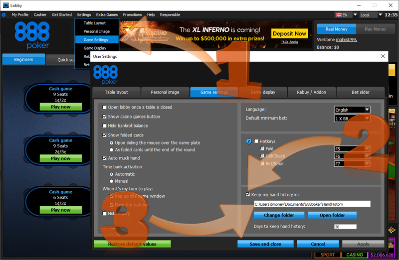 hand history options inside of 888 poker client
