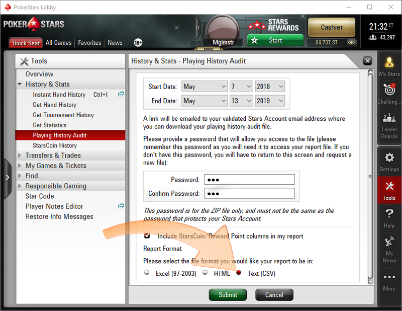 Download hands from PokerStars client