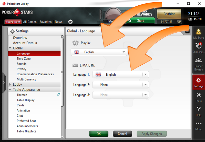 PokerStars language options in poker client