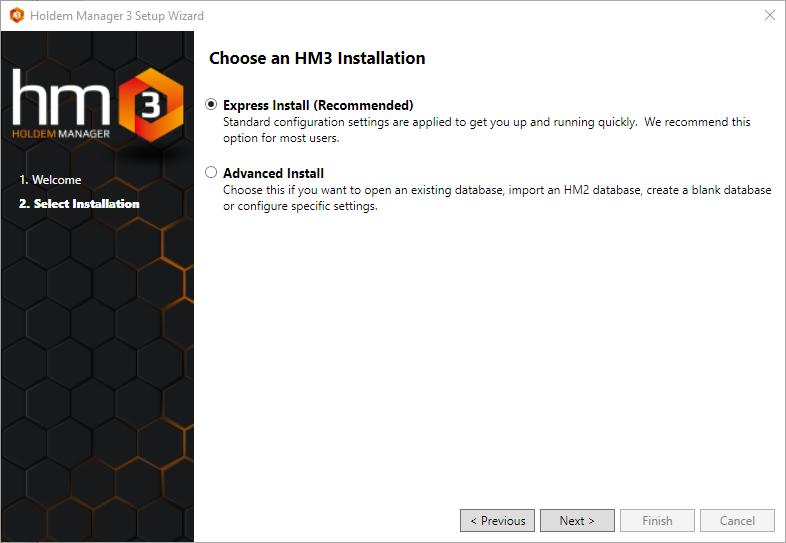 Choose advanced or express installation.