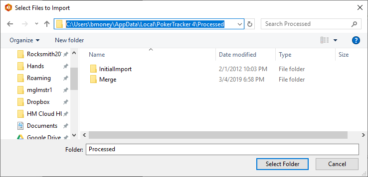 Select poker hands to import into HM3
