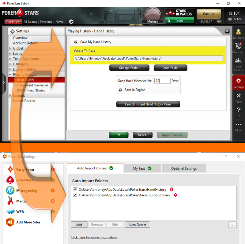 poker site settings in HM3 and poker client